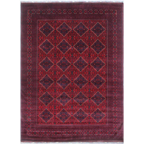 Linda Hand Knotted 100% Wool Red Area Rug by World Menagerie